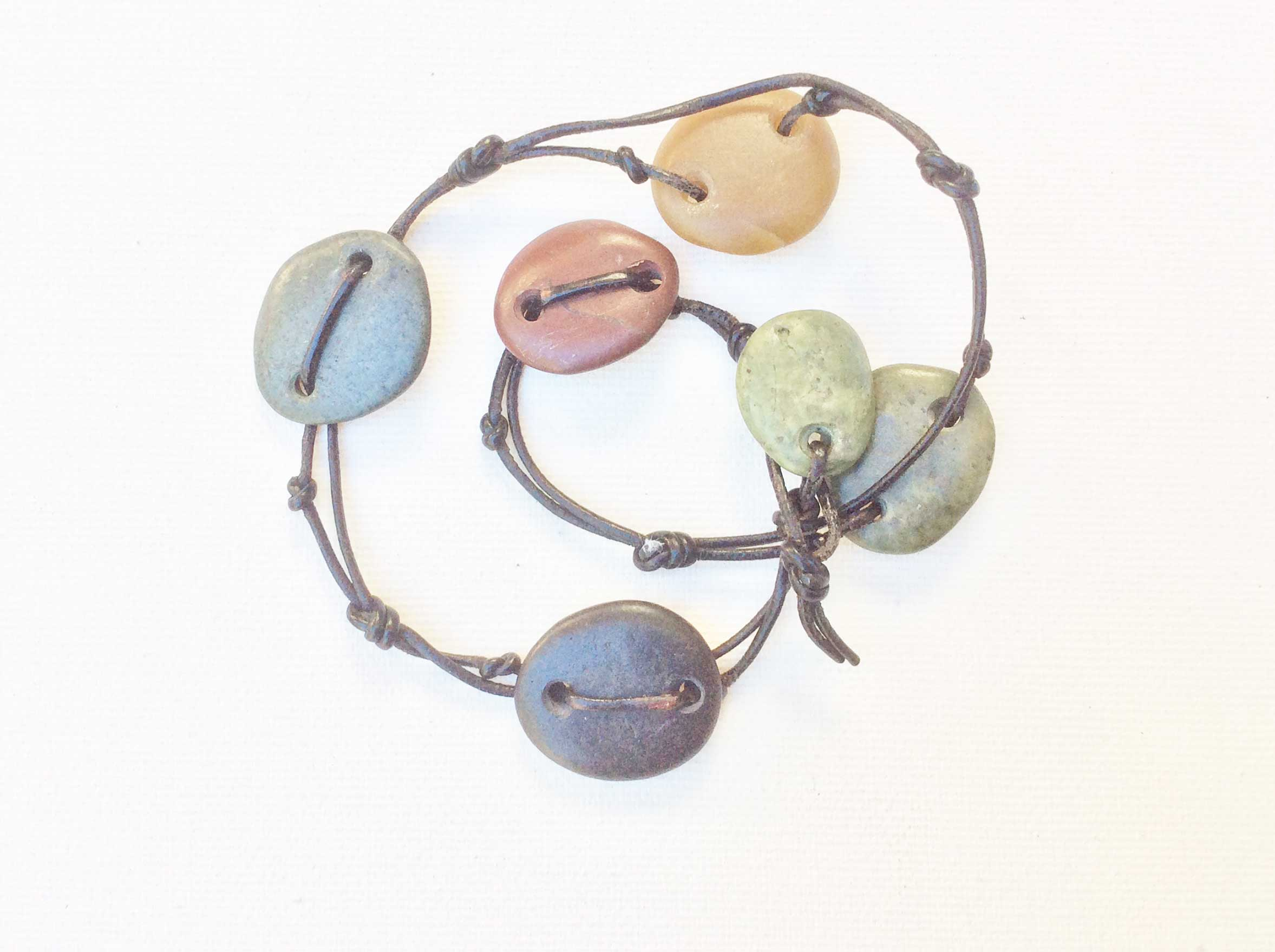 Fern Canyon 1 Bracelet, 6 stone, double wrap, leather, 14 inches By Moss Gathers Stones