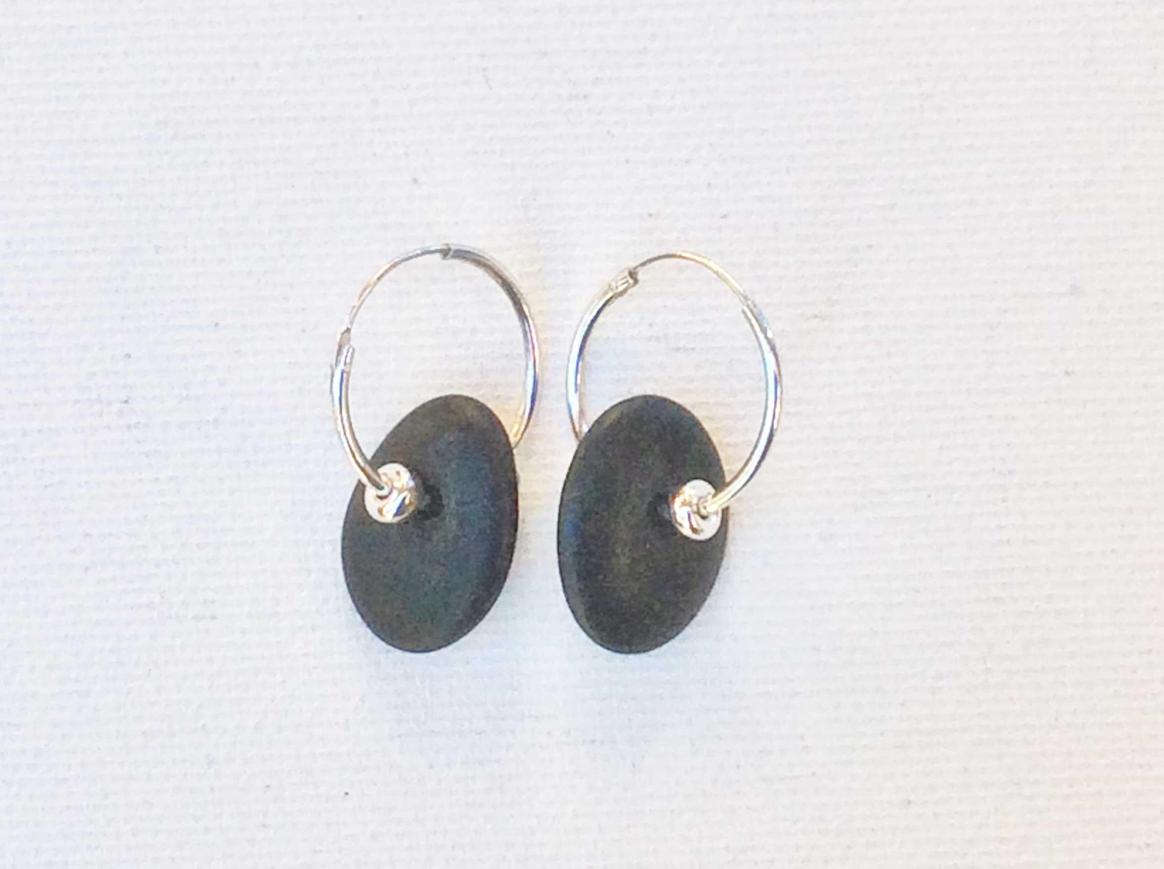 Crescent 1 Earrings, 1 stone, sterling silver beads/hoops By Moss Gathers Stones